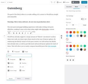 Page WordPress éditée avec Gutenberg