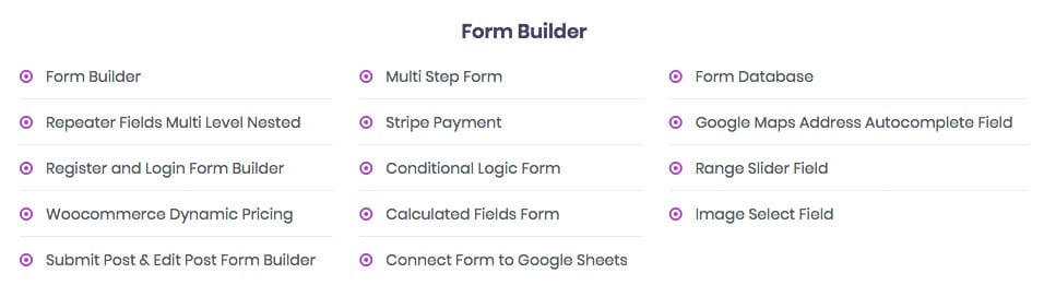 Les fonctions et modules de formulaire de PAFE pour Elementor