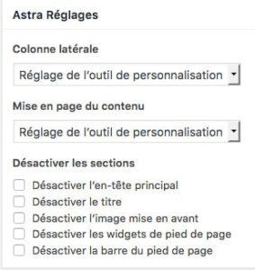 Astra thème pour WordPress - Réglages de page