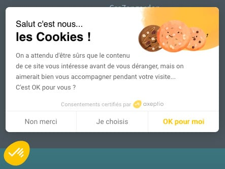 Axeptio - Exemple de panneau de cookies