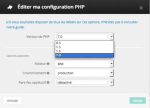 Édition du paramètres PHP chez OVH