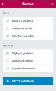 Elementor v1.9 - Menu global remanié