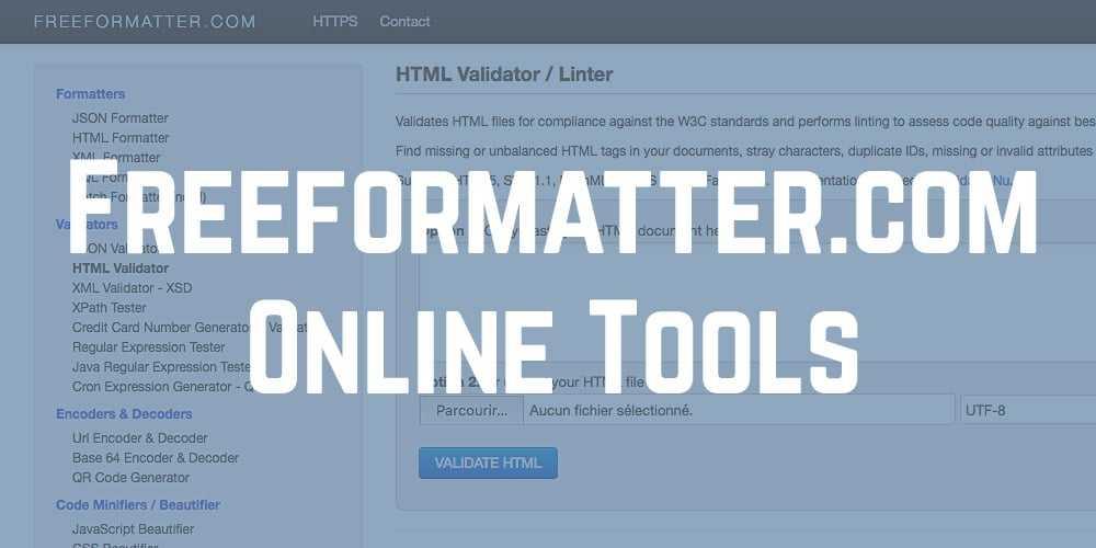 Freeformatter.com : formater son code c'est mieux…
