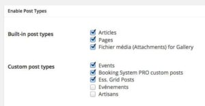 Intégration aux autres types de contenus WP