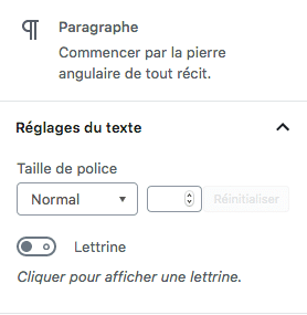 Réglages de base du widget paragraphe de Gutenberg WordPress 5.0