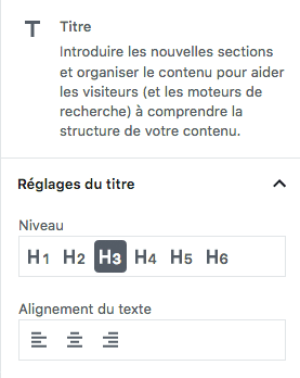 Réglages de base du widget titre de Gutenberg WordPress 5.0