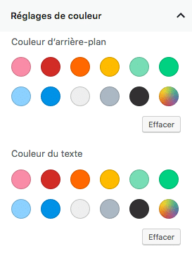 Réglages des couleurs dans Gutenberg WordPress 5.0