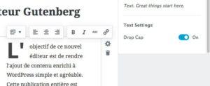 Création de lettrine avec Gutenberg - WordPress