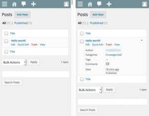 Listing articles et pages complété sur mobile