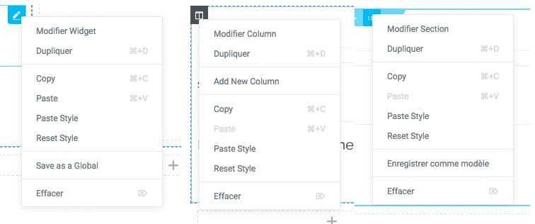 Les nouveaux menus contextuels avec fonction de copie de style