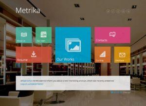 La page d'accueil du thème Metrika