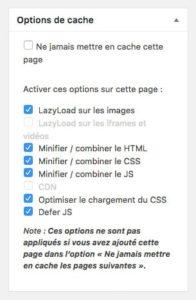 Les options de cache et d'optimisation d'une page avec WP Rocket