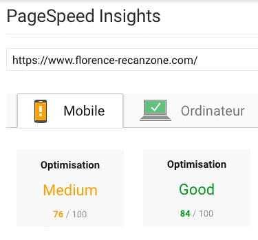 Google insights après WP Rocket