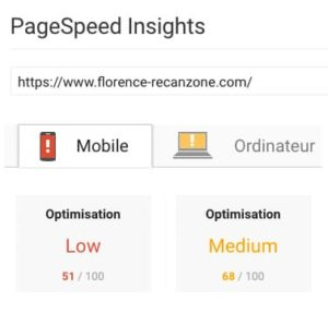 Google insights avant WP Rocket