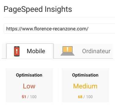 Google insights avant WP Rocket