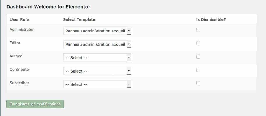 Extension Dashboard Welcome for Elementor - Réglages profils et panneaux