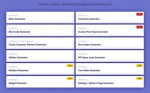 Les différents générateurs de code WP Hasty